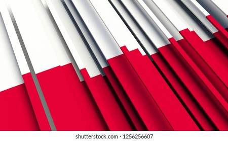 Abstract Flag of Poland. 3D illustration