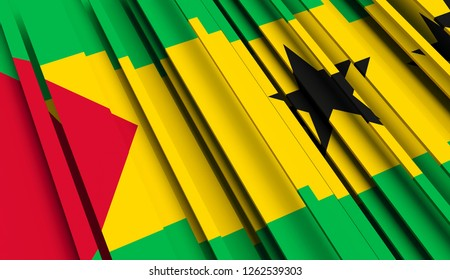 Abstract Flag of Sao Tome and Principe. 3D illustration