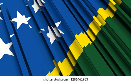 Abstract Flag of Solomon Islands. 3D illustration - Illustration