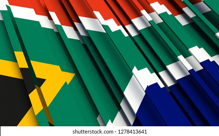 Abstract Flag of South Africa. 3D illustration - Illustration