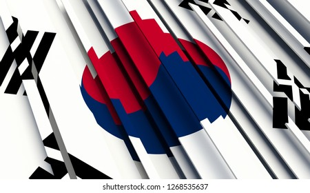 Abstract Flag of South Korea. 3D illustration - Illustration