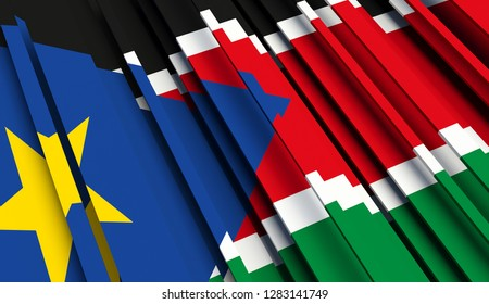 Abstract Flag of South Sudan . 3D illustration - Illustration