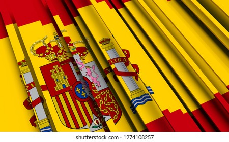 Abstract Flag of Spain. 3D illustration - Illustration