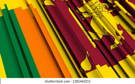 Abstract Flag of Sri Lanka. 3D illustration - Illustration