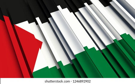 Abstract Flag of State of Palestine. 3D illustration