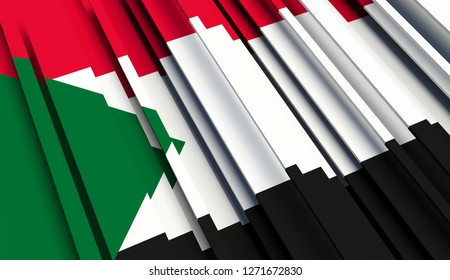 Abstract Flag of Sudan. 3D illustration - Illustration
