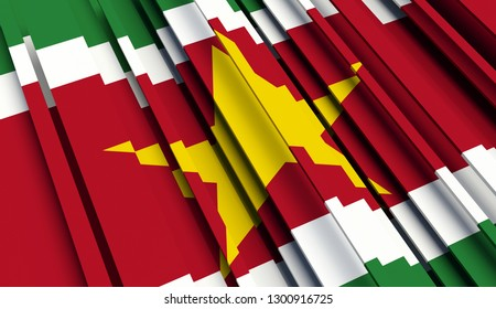 Abstract Flag of Suriname. 3D illustration - Illustration