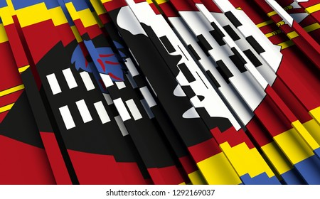 Abstract Flag of Swaziland. 3D illustration - Illustration