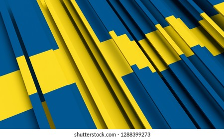 Abstract Flag of Sweden. 3D illustration - Illustration