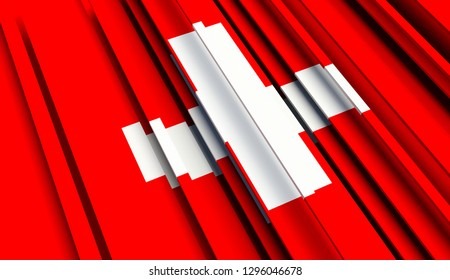 Abstract Flag of Switzerland. 3D illustration - Illustration