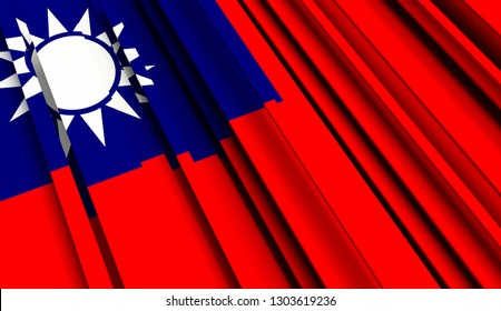 Abstract Flag of Taiwan. 3D illustration - Illustration