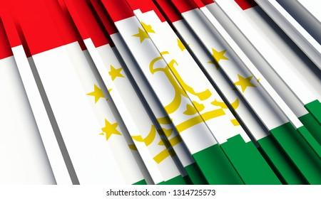 Abstract Flag of Tajikistan. 3D illustration - Illustration