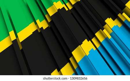 Abstract Flag of Tanzania. 3D illustration - Illustration