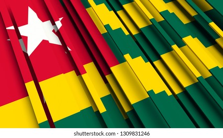 Abstract Flag of Togo. 3D illustration - Illustration