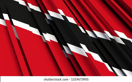 Abstract Flag of Trinidad and Tobago. 3D illustration - Illustration