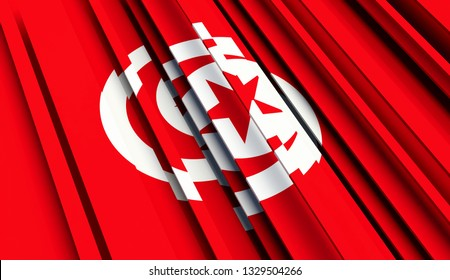 Abstract Flag of Tunisia. 3D illustration - Illustration