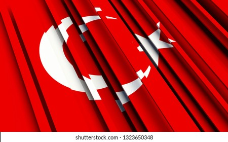 Abstract Flag of Turkey. 3D illustration - Illustration
