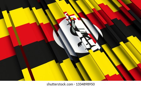 Abstract Flag of Uganda. 3D illustration - Illustration