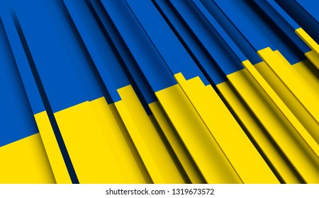 Abstract Flag of Ukraine. 3D illustration - Illustration