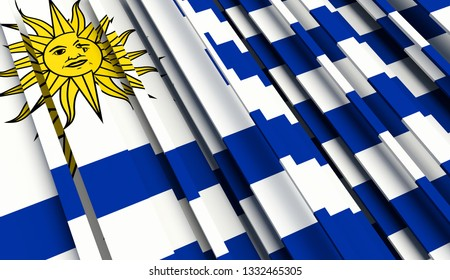 Abstract Flag of Uruguay. 3D illustration - Illustration