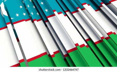 Abstract Flag of Uzbekistan. 3D illustration - Illustration