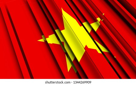 Abstract Flag of Vietnam. 3D illustration - Illustration