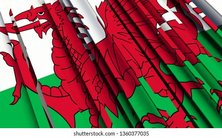 Abstract Flag of Wales. 3D illustration