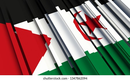 Abstract Flag of Western Sahara. 3D illustration - Illustration