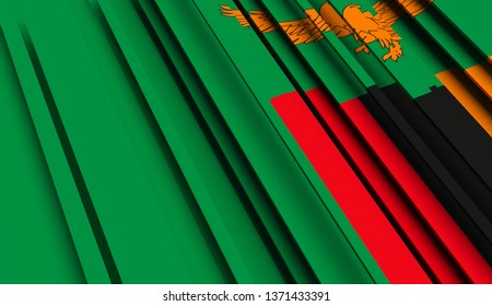 Abstract Flag of Zambia. 3D illustration