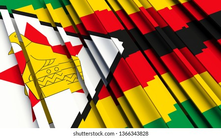 Abstract Flag of Zimbabwe. 3D illustration