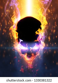 Abstract flaming head with eye shining light and smoke. Halloween concept. 3d illustration