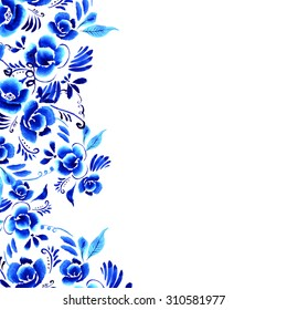 Abstract  floral background, pattern with folk art flowers, blue white gzhel ornament. Can be used for banner, card, poster, invitation, label, menu, page decoration or web design