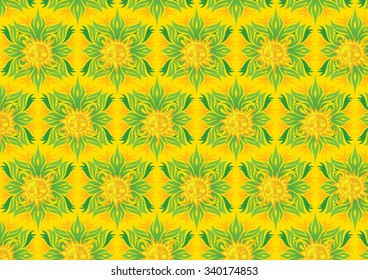 Abstract floral background with sun design