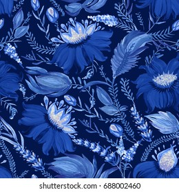 Abstract floral collage in Ukrainian folk painting style Petrykivka. Hand drawn fantasy flowers, leaves, branches on a dark indigo blue background.Batik, page fill,album cover, poster, tee shirt print