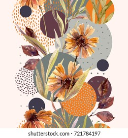 Abstract floral and geometric seamless pattern. Watercolor flowers and leaves, circle shapes filled with watercolour, minimal doodle textures on background. Hand painted illustration, fall design