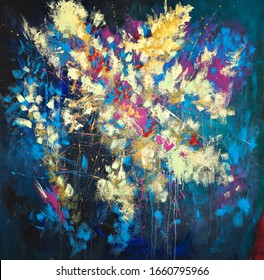 Abstract floral hand painted composition on blue background