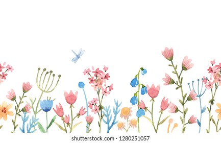 Abstract floral horizontal pattern, naive flowers, pink flowers