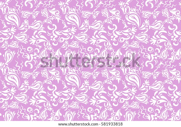 Abstract floral ornament, raster seamless pattern of abstract multicolored decorative elements.