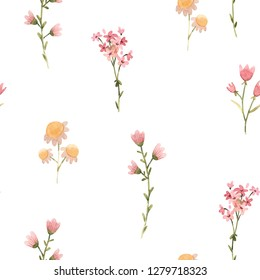 Abstract floral pattern, naive flowers. gentle abstract watercolor wallpaper