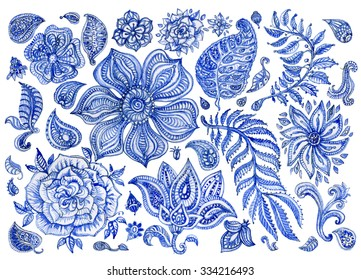 Abstract floral pattern set of indigo blue hand painted watercolor fantasy leaves, flowers,  Paisley elements and branches isolated on a white background.Textile print elements for design,album cover