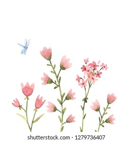 Abstract floral print, naive flowers, pink flowers