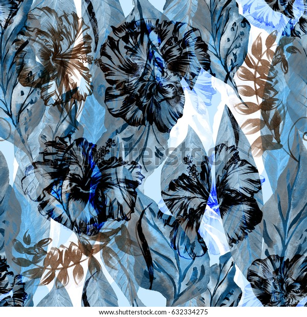 Abstract floral repeating pattern blue watercolor painted tropical background. Exotic plants paradise effect overlay and layers.