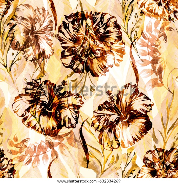 Abstract floral repeating pattern watercolor painted tropical background. Exotic plants paradise effect overlay and layers.