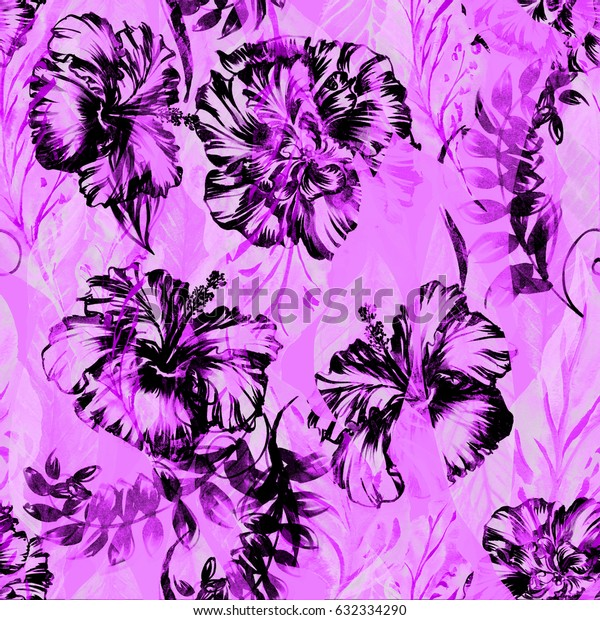 Abstract floral repeating pattern watercolor painted tropical background. Pink black Exotic plants paradise effect overlay and layers.
