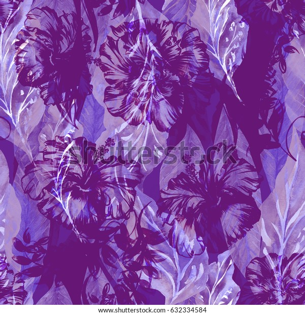 Abstract floral repeating pattern watercolor painted tropical background. Violet lilac trendy Exotic plants paradise effect overlay and layers.