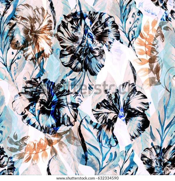 Abstract floral repeating pattern watercolor painted tropical background. Vintage textile fashion Exotic plants paradise effect overlay and layers.