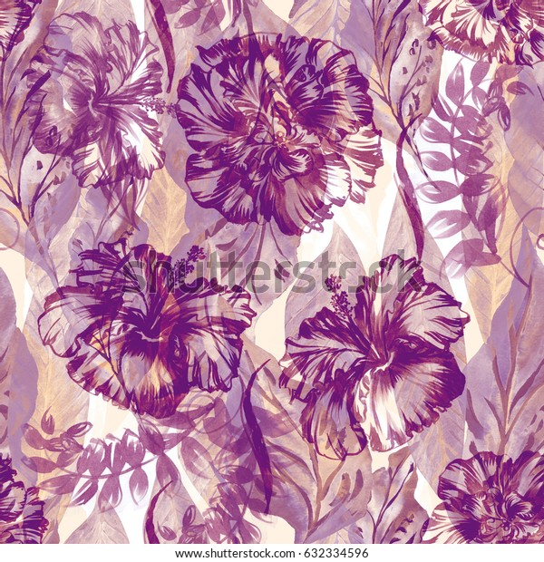 Abstract floral repeating pattern watercolor painted tropical background. Vintage pastel color exotic plants paradise effect overlay and layers.