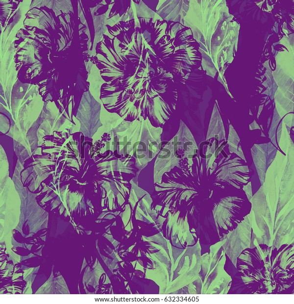 Abstract floral repeating pattern watercolor painted tropical background. Monochrome feminy Exotic plants paradise effect overlay and layers.