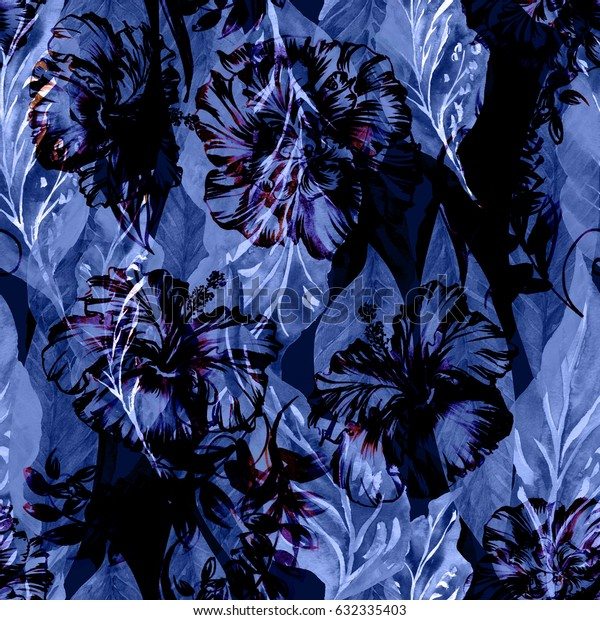 Abstract floral repeating pattern watercolor painted tropical background. Dark blue exotic plants paradise effect overlay and layers.