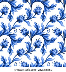 abstract floral seamless pattern, background with folk art flowers, blue white gzhel ornament